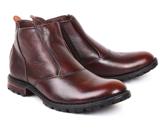 Mens Jacksin Hand Crafted Leather Chelsea Ankle Boots