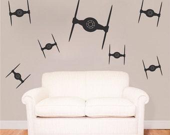 Tie Fighter Bedroom Kit Decals Star Wars Wall Decal Star Wars Mural Tie Fighter Kit Wall Vinyl Removable Star Wars Wall Vinyl Decal, g93