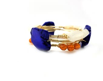 University of Florida gator GameDay set of 3 bangle bracelets, Florida bracelets, University of Florida jewelry, UF gator  bracelets