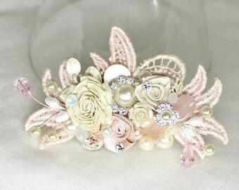 Blush Bridal Comb- Wedding Hair Piece- Bridal Hair Accessories- Bridal Hairpiece- Pink Hair Clip- Blush Hair Comb- Blush Floral Hair Comb