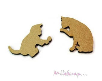 Set of 2 cats wood blank scrapbooking card making (ref.710) *.