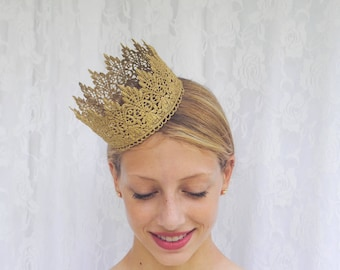 "Romantic Queen Gold Lace Crown -""Romance Crown""  - princess, queen, royal, costume crown,macabre"