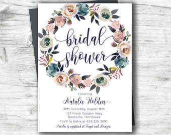 Bridal Shower Dusty Rose Pink Slate Blue Navy Floral Wreath Watercolor Digital Printable Invitation