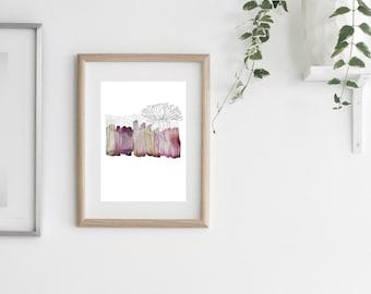 scandinavian art print, illustration print, wall art print, watercolour print, wall prints, scandinavian print, scandinavian art