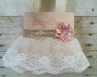 Blush and Ivory Lace Flower Girl Purse, Flower Girl Gift, Birthday Gift, Communion Gift
