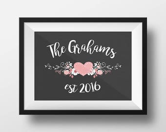 Personalized Wedding Gift Wall Art Last Name Est Romantic Floral Family Sign Custom Digital Download