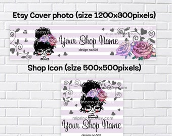 no501 - banner set, girl banner, women accessories business, business shop banner, cover image, shop icon, vintage elegant, flower shop icon