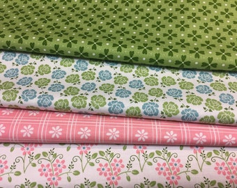 Sew Cherry 2 green fabric quarter panel by Lori Holt Riley Blake