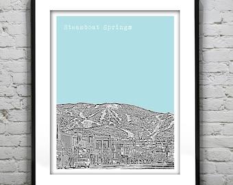 Steamboat Springs Skyline Colorado Poster Art Print Colorado CO