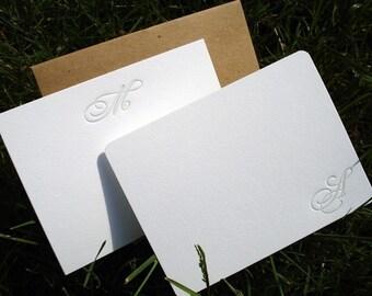 Set of 15 Custom Monogrammed Letterpress Notecards
