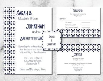 Retro Navy Wedding Invitation Suite