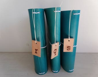 Bottom of the Barrel!!!! Turquoise Leather Journal Cover - Medium to Firm