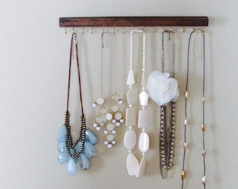 rustic stained wood necklace display racks - set of 2- a necklace and a earring holder