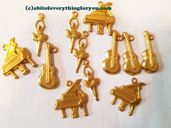 brass musical instrument charms metal music charms guitar piano gold 12 vintage
