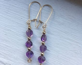 Amethyst and 14k Gold Fill Earrings - Free U.S. Shipping