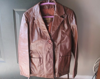 Vintage Brown Leather Jacket The Tannery Made for Montgomery Ward Classic Leather Belted Jacket *EXCELLENT CONDITION*