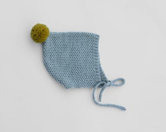 Pixie hat in LIGHT GREY colour with mustard pompon sizes from 0-3  up to 12-24 months - Pixie baby bonnet- knitted baby bonnet