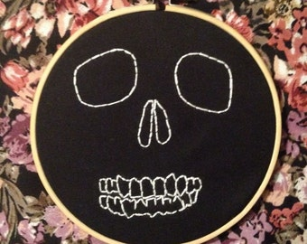 Skull Face Embroidery Hoop