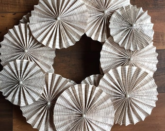 Book Page Pleated Rossette Wreath