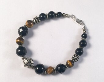 Obsidian, Tiger Eye with Silver Beads Bracelet