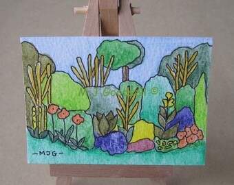 Gardens #1001 - ACEO miniature acrylic painting