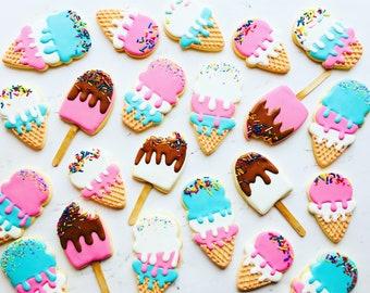 Summer /ice cream cookies/cookies/sugar cookies/custom cookies/ decorated cookies/vocation/summer/ice pop/popsicle/ice cream cone/