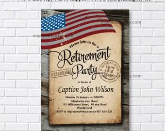 Military Retirement, Army, Retirement Invitations, Army party, Retirement party Invitation, Retirement Celebration - card 1121