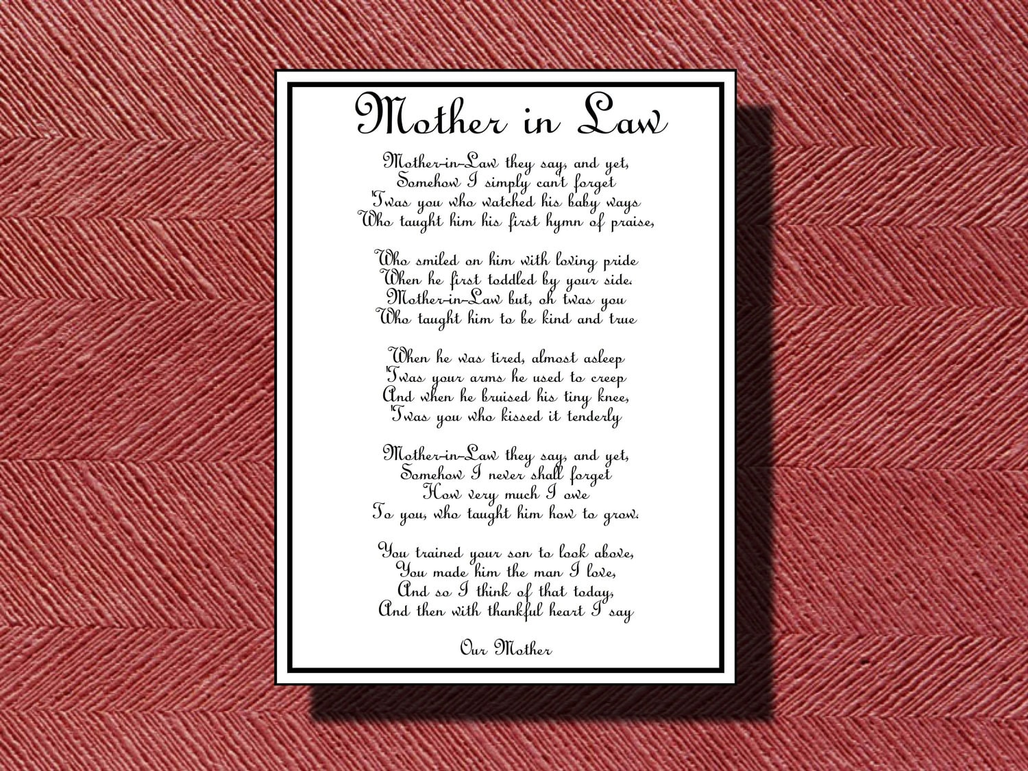 Wedding day mother in law poem diy printable zoom kristyandbryce Image collections