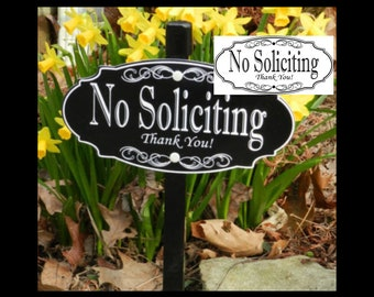 NO SOLICITING Garden Sign Lawn Sign, No Soliciting Yard Sign, No Soliciting Sign