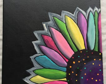 Colorful flower painting, 12x12 canvas