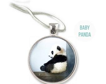 Panda Necklace - Photo Panda Necklace Panda Jewelry - Glass Panda Pendant (NP1)
