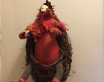 Penny Pinecone Art Gourd Doll One of a Kind