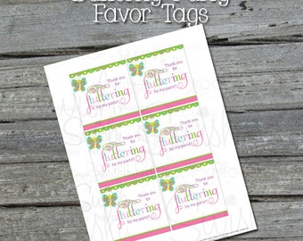 INSTANT DOWNLOAD - Butterfly Birthday - Favor Tags - Girls - NONPERSONALIZED