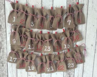 Christmas Advent Calendar Garland Christmas Countdown Decoration Shabby Chic