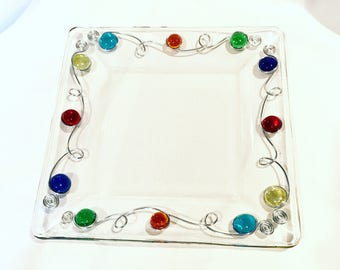 Plate-Beaded, Wire Wrapped, Serving Tray, Party Plate, Decorative Plate, Rustic, Dinner Plate, Dinnerware, Plate, Custom Plate