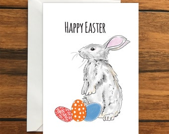 Happy Easter Bunny Blank greeting card A6