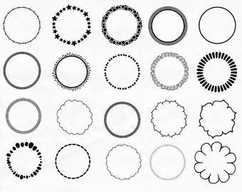Simple Circle Frames, 9 inch Round Clip Art Border Digital Stamp Scalloped Circle Frame Photoshop Brush, Dot Frame Border & Zig Zag