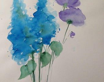 ORIGINAL WATERCOLOR art watercolor painting wildflowers flowers of watercolour flowers
