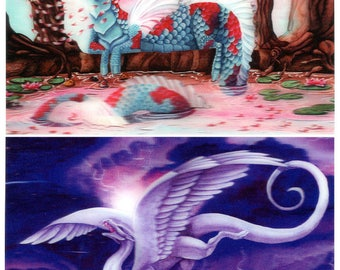 DRAGONS: Cherry Blossom & Storm Dancer - 2 Lenticular 3D Postcard Greeting Cards