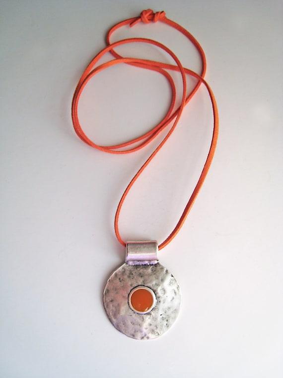 Bohemian necklace, orange necklace, boho tribal pendant, tangerine orange resin necklace, hammered silver round pendant ancient greek amulet