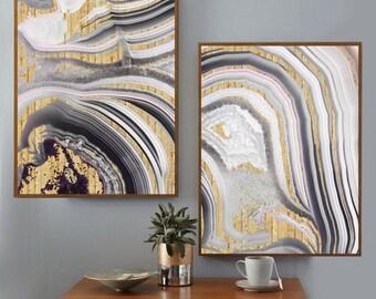Abstract print, Abstract art, Gray, Art, Gold foil print, Paint Art, Modern art, Digital art, Printable art, Digital art Instant Download