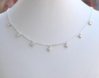 Handmade Sterling Silver Diamond Cubic Zirconia Choker, Sterling Silver Choker, CZ Choker, Silver Necklace, Bride, Wedding Jewelry, N061