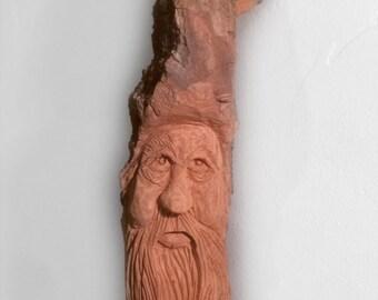 Carved Wood Spirit Alaskan Wizard, A perfect holiday gift made in Alaska Cottonwood Bark, Whimsical Christmas wall hanging home & living