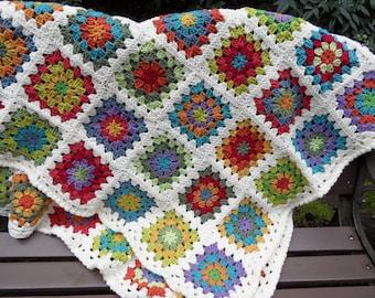 Colorful Granny Square Blanket