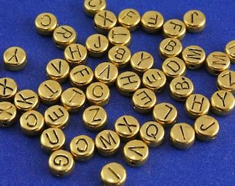 52 pcs -Gold Alphabet Beads, 6mm Round, Gold Letter Beads Ramdom Mix A-Z- AG-B29985-8S