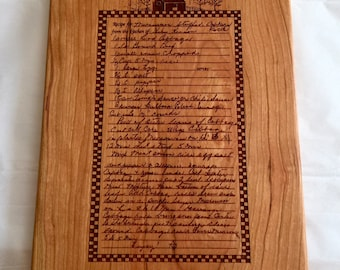 GRANDMOTHERS RECIPE Personalized  Engraved  CUTTING  Board Handwritten recipe