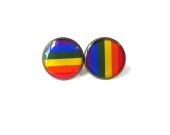 Gay Pride Flag Stud Earrings - Pop Culture Jewelry - Pro Marriage Equality and LGBT Rights