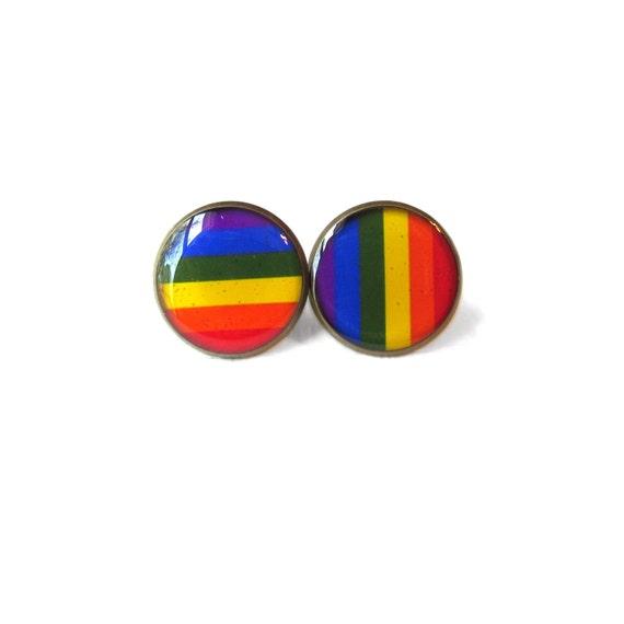 Gay Pride Flag Stud Earrings Pop Culture Jewelry Pro