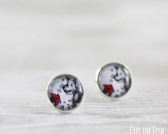 Gray Red Earrings - Stud Earrings - Maple Leaf Earrings - Black Red Earrings - Red Leaf Earrings - Grey Red Earrings - Gift for her (0-84E)