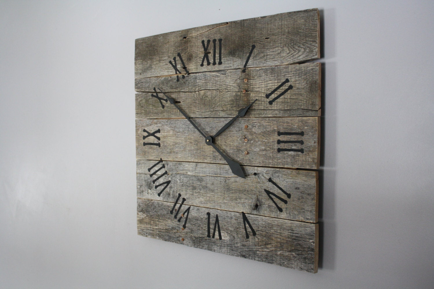 Charming Ideas Large Rustic Clock.  zoom Large Rustic Wall Clock Gray Washed Color Raw Wood